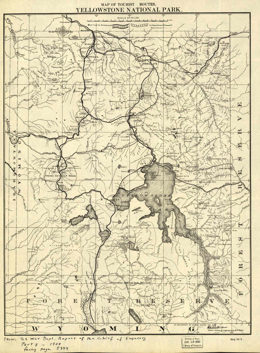 Map of the tourist routes Yellowstone National Park Library of