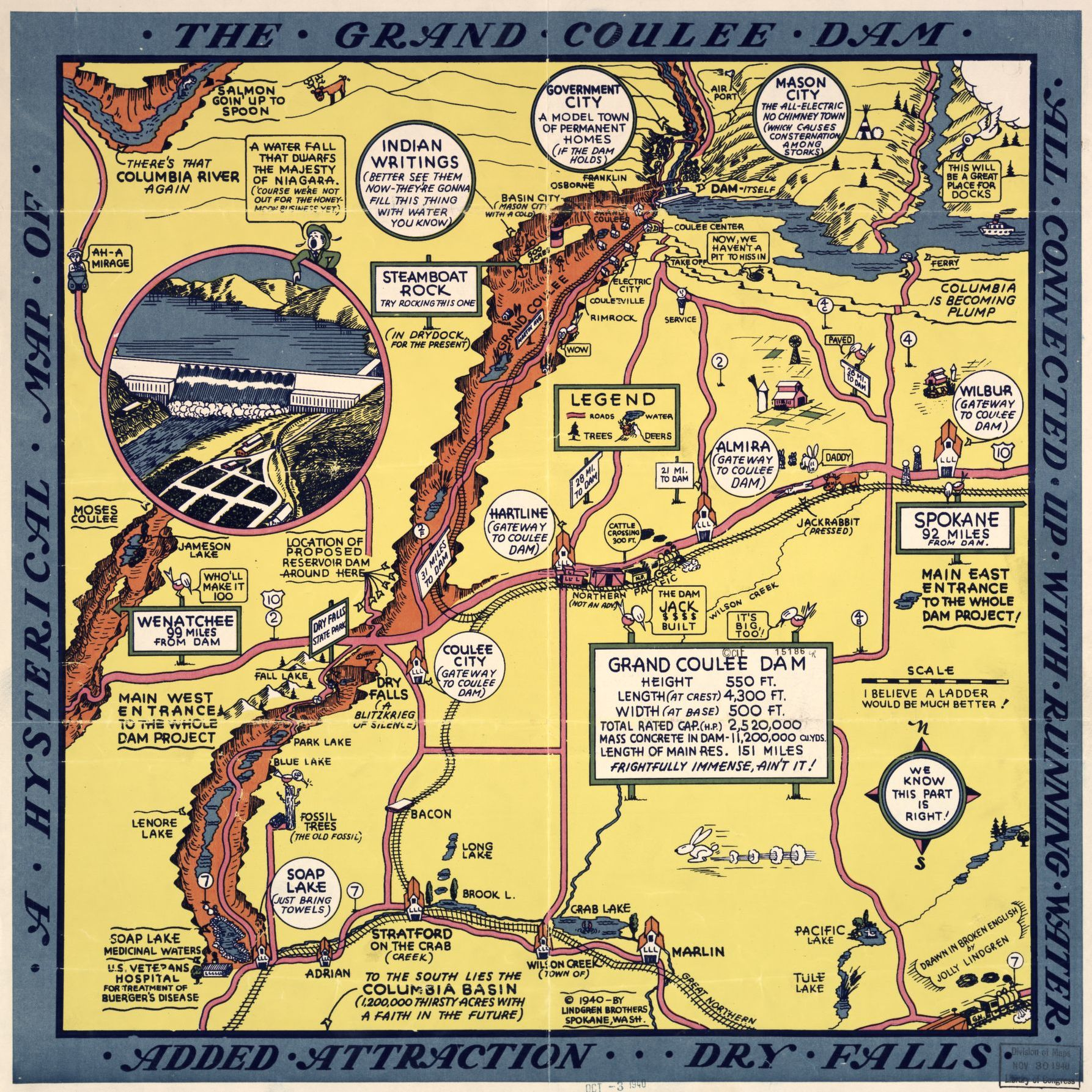 Hysterical map of the Grand Coulee Dam Washington c1935 24x18