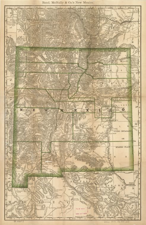 Indexed Map Of New Mexico Showing Stage Lines Counties Lake - Rand mcnally online maps