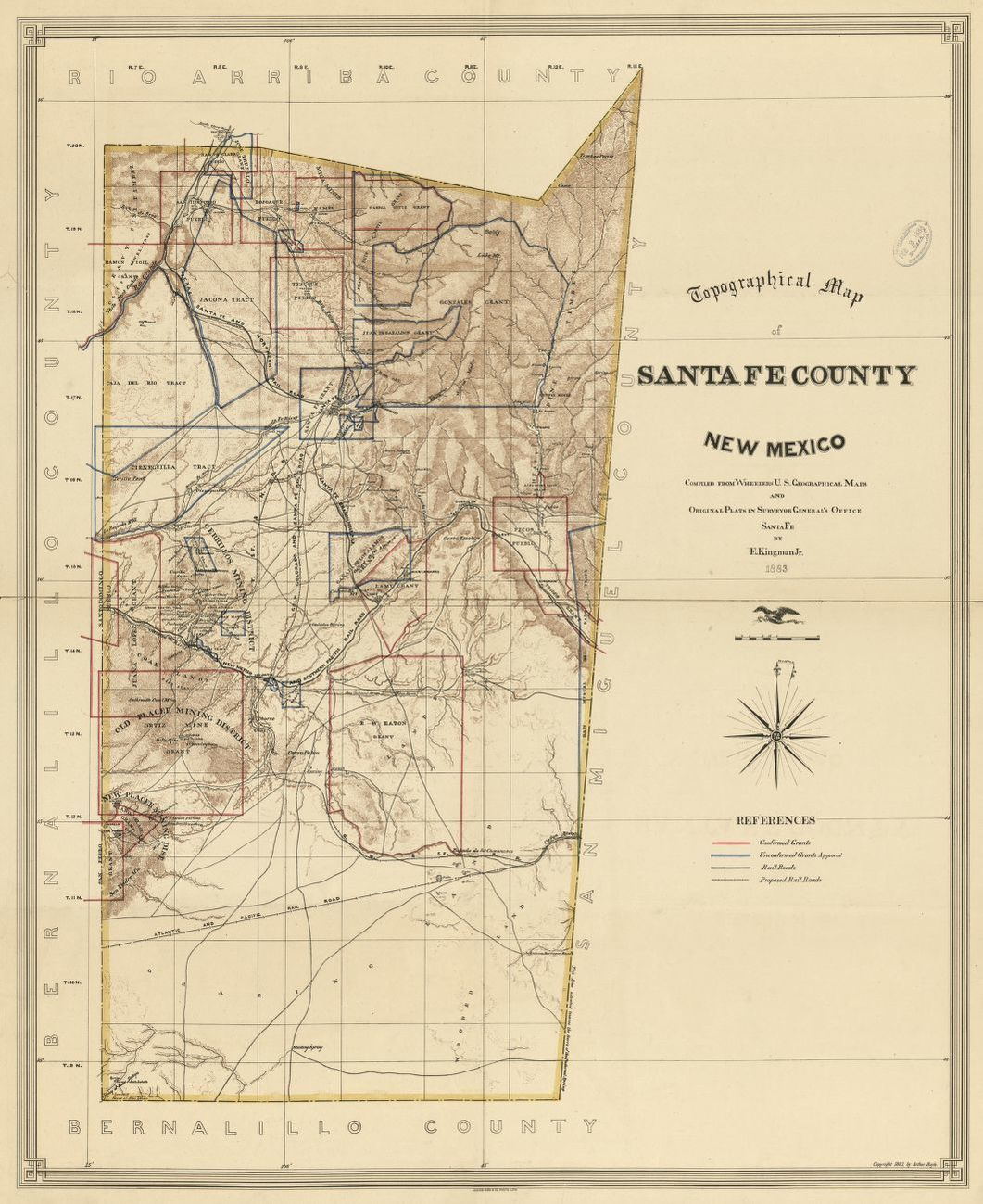 Topographical Map Of Santa Fe County New Mexico Copy 1 Library