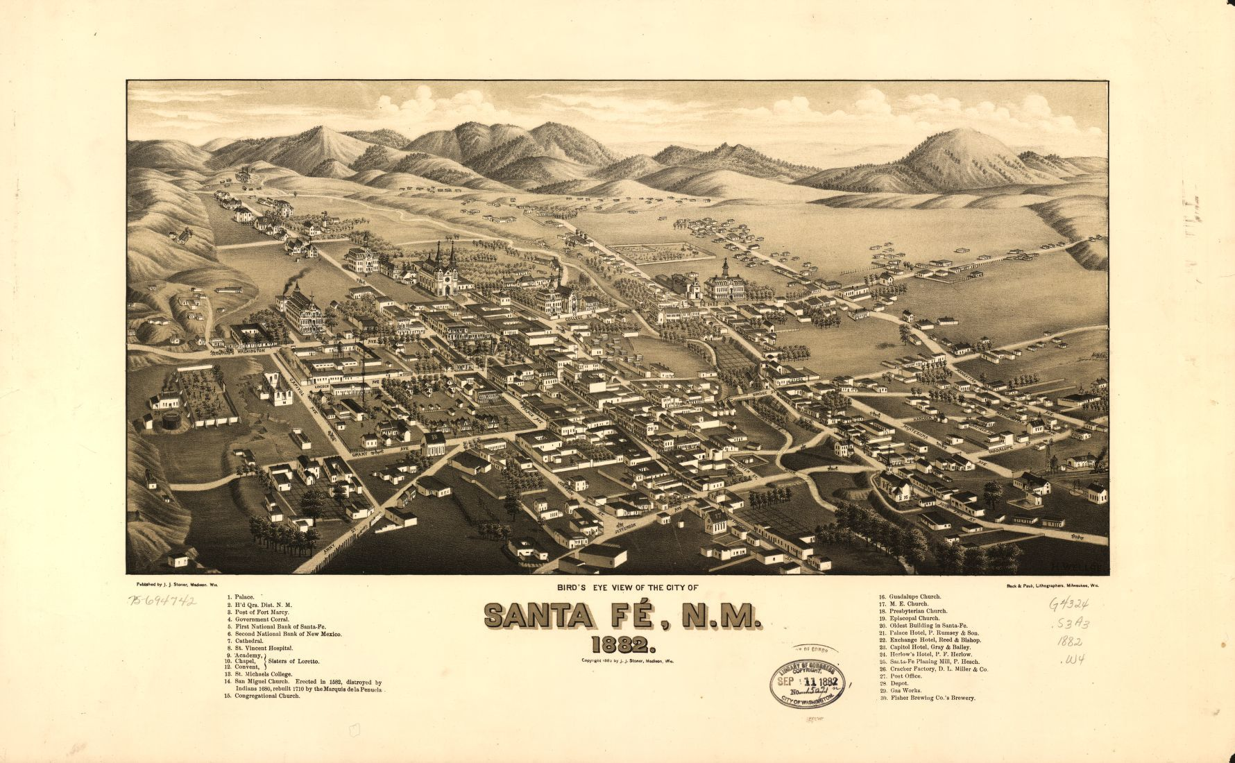 Birds eye view of the city of Santa F NM 1882 Library of