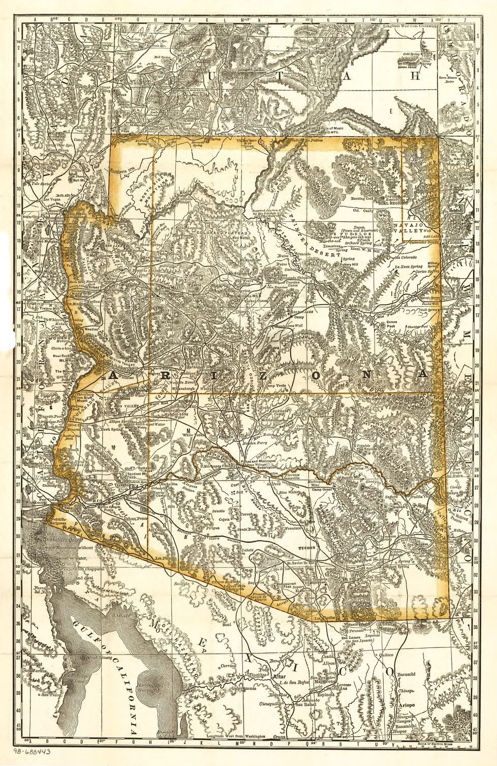 Map Of Arizona 1880.Indexed Map Of Arizona Showing The Stage Lines Counties Lakes