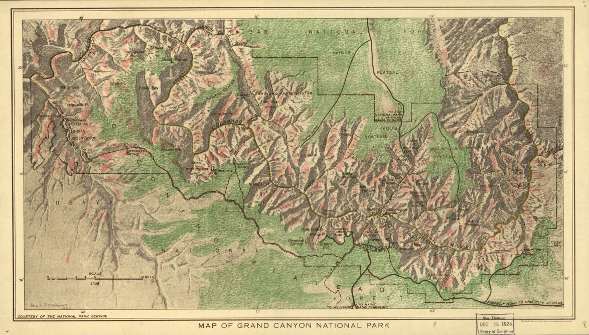 Map of Grand Canyon National Park Library of Congress