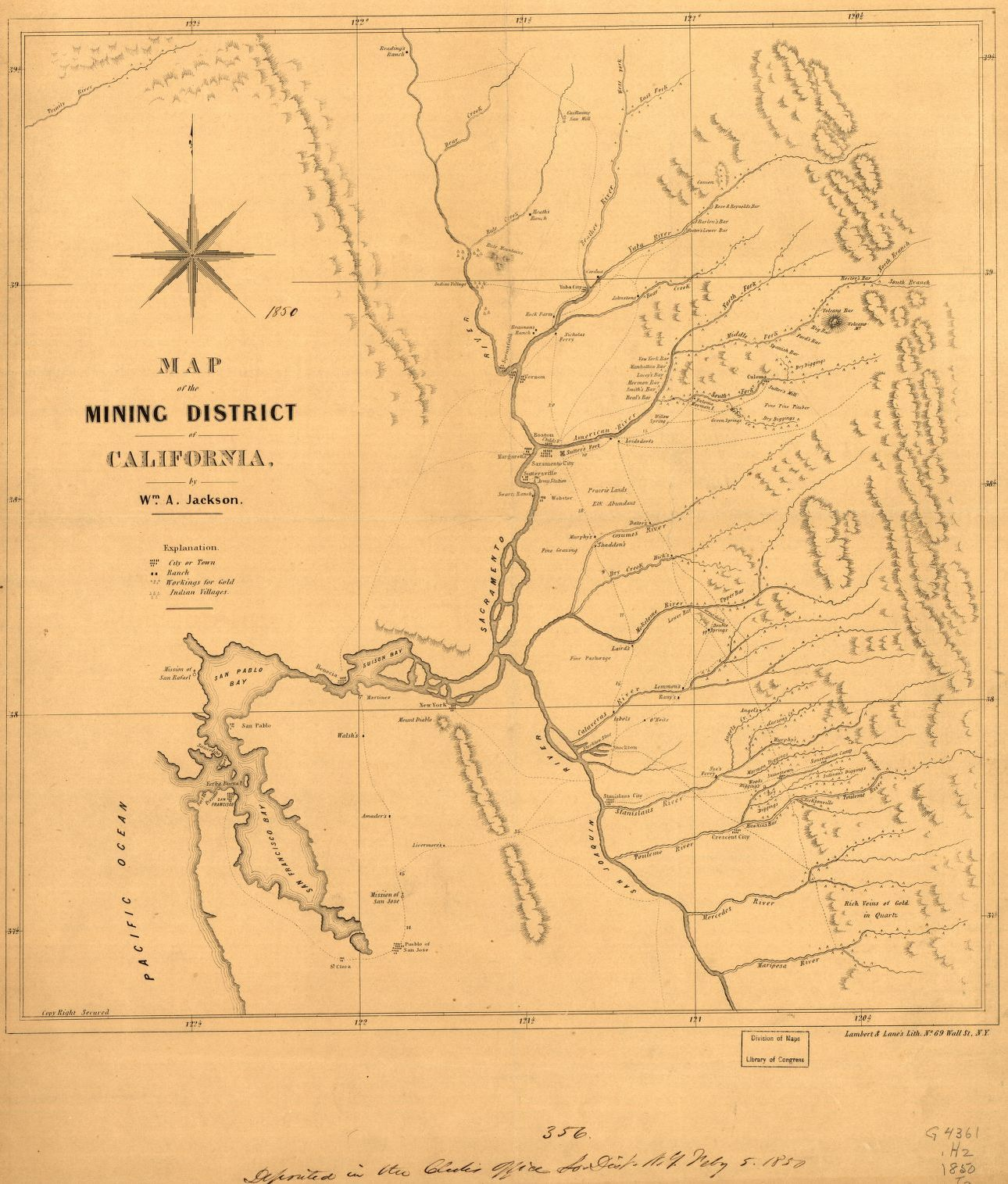 Map of the mining district of California. | Liry of Congress Abandoned Mines California Map on old mine maps, gold mine maps, ohio underground mine maps, coal mine maps,