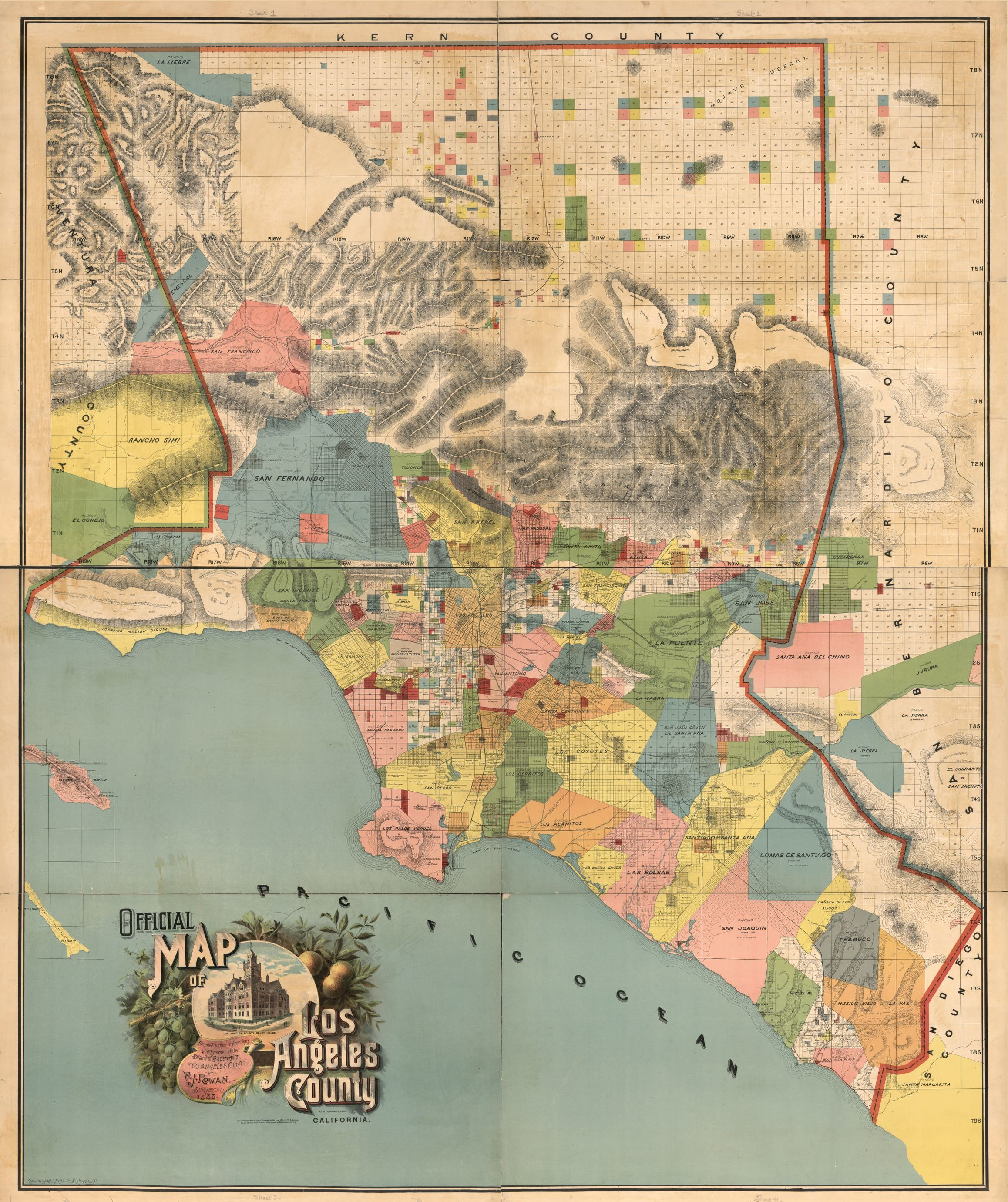 Official map of Los Angeles County California compiled under