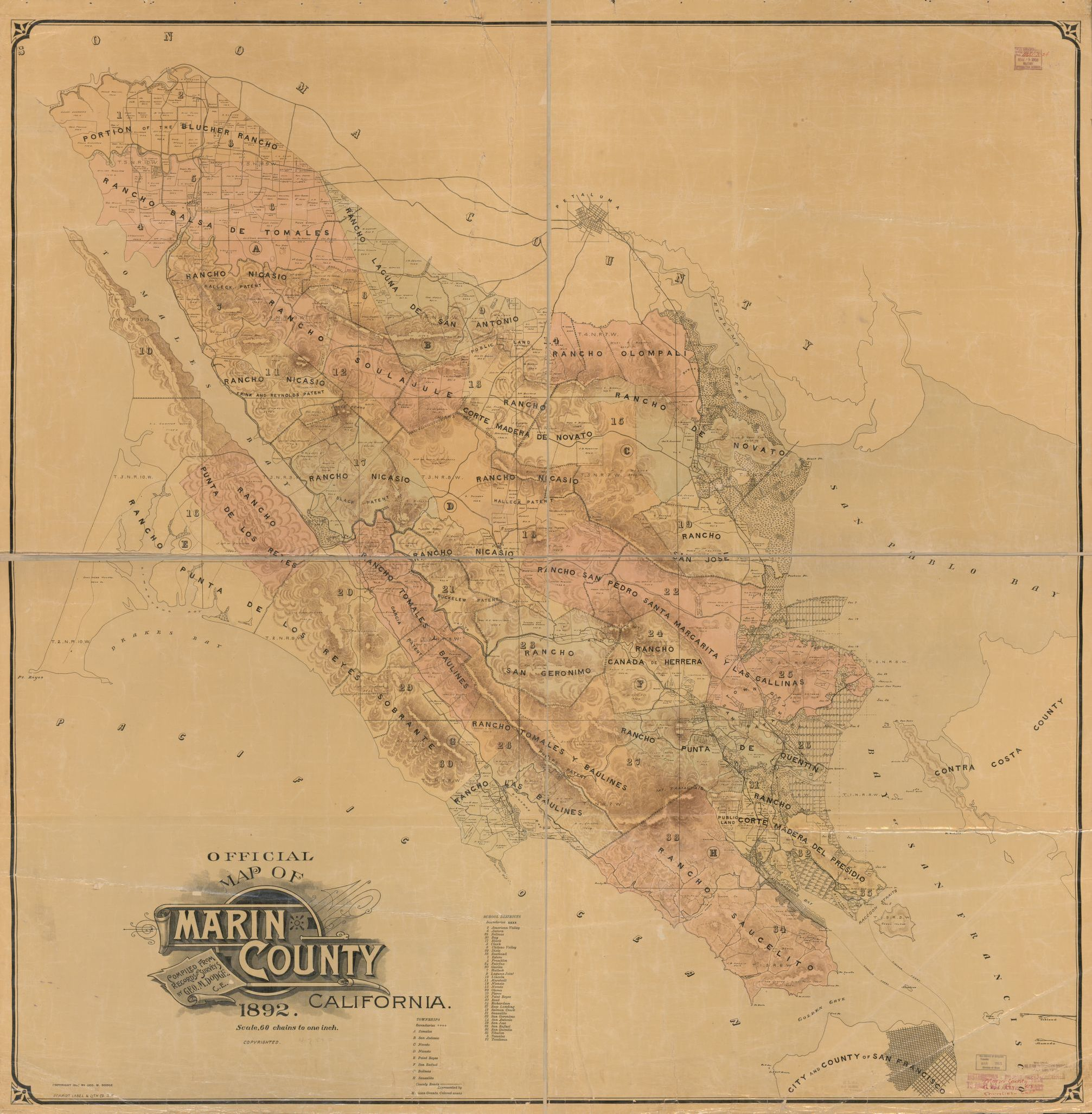 Official Map Of Marin County California Copy 1 Library Of Congress