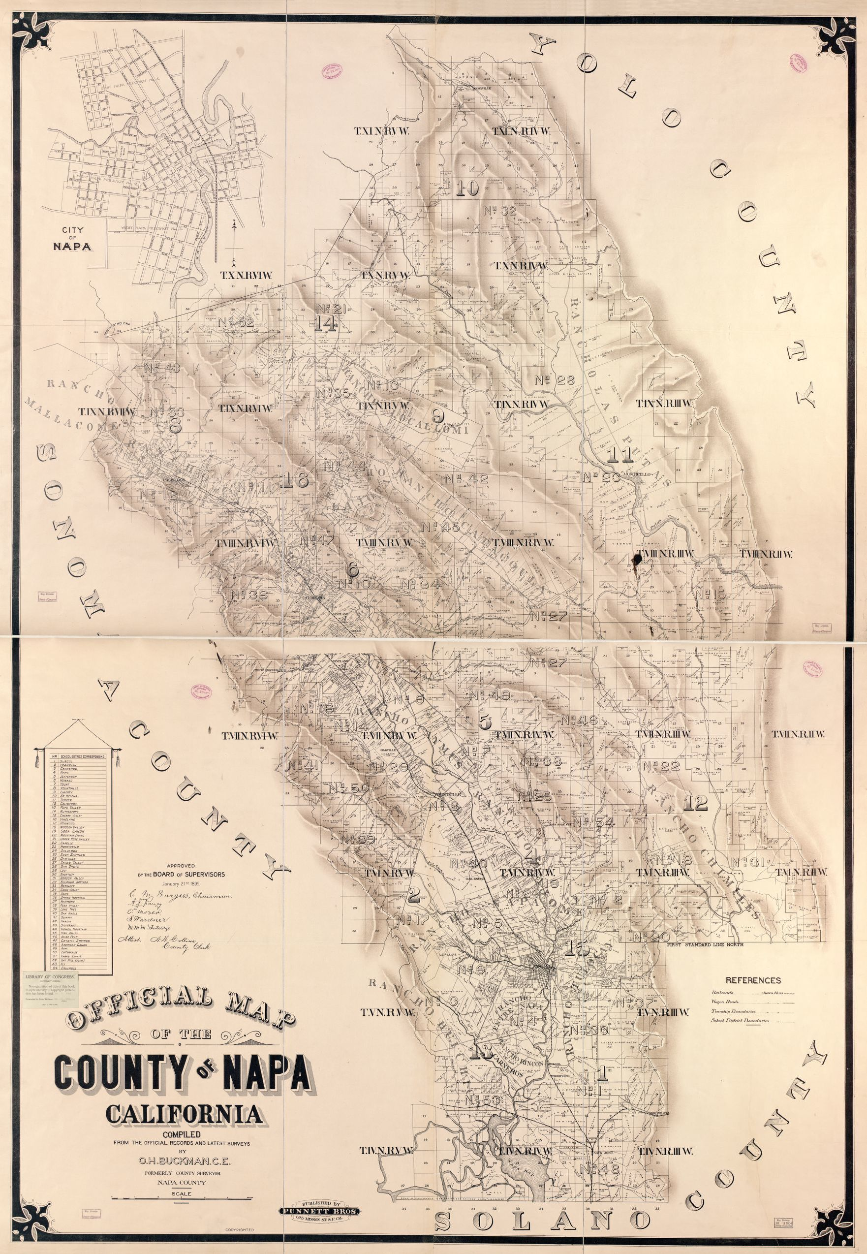 Official Map Of The County Of Napa California Compiled From The