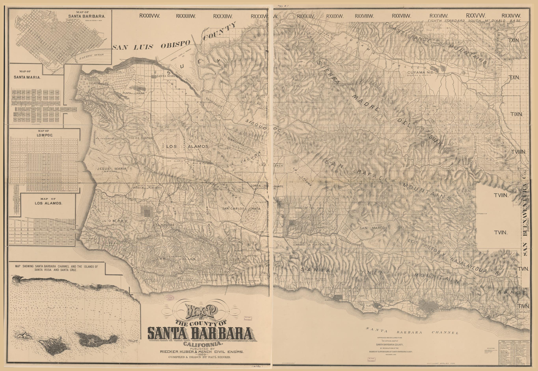 Santa Barbara California Map.Map Of The County Of Santa Barbara California Library Of Congress