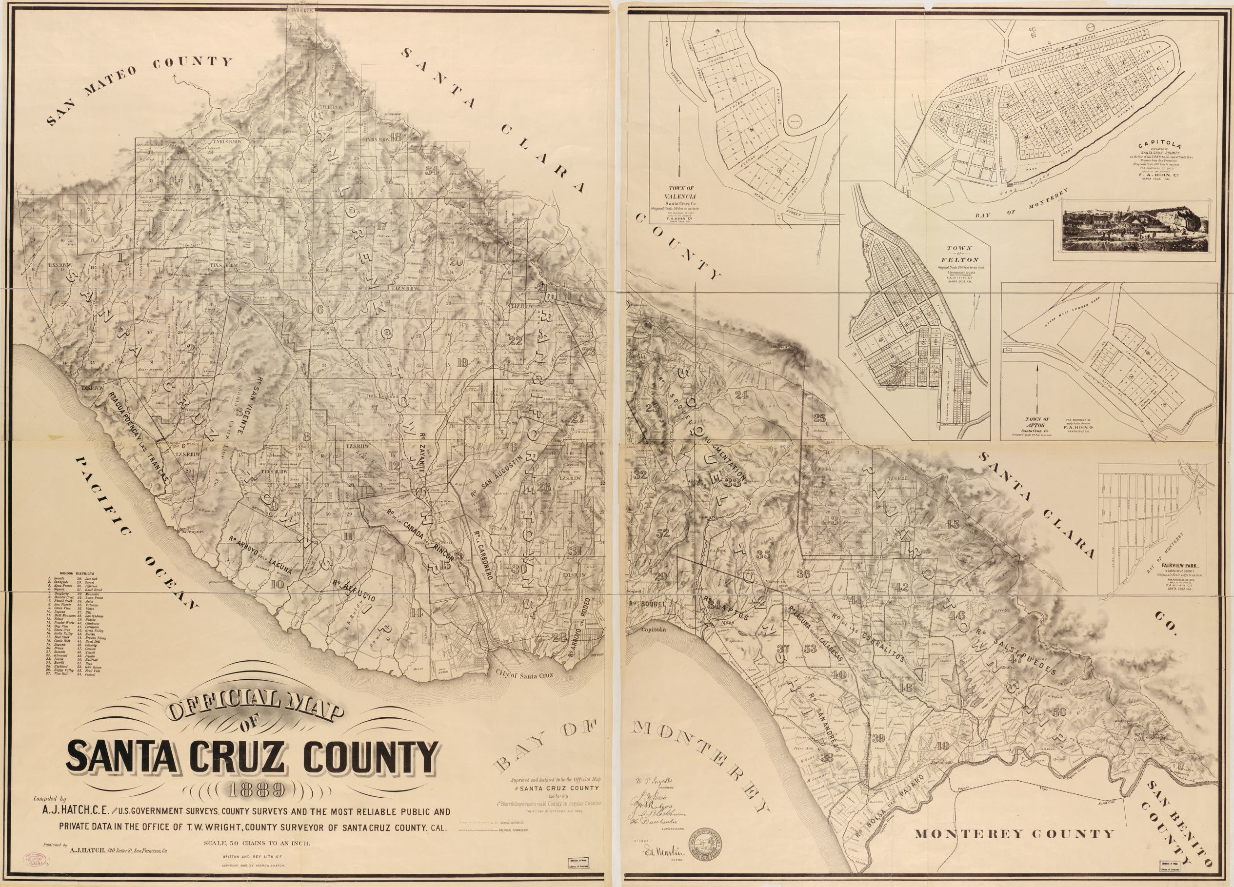 Santa Cruz California Map.Official Map Of Santa Cruz County Library Of Congress