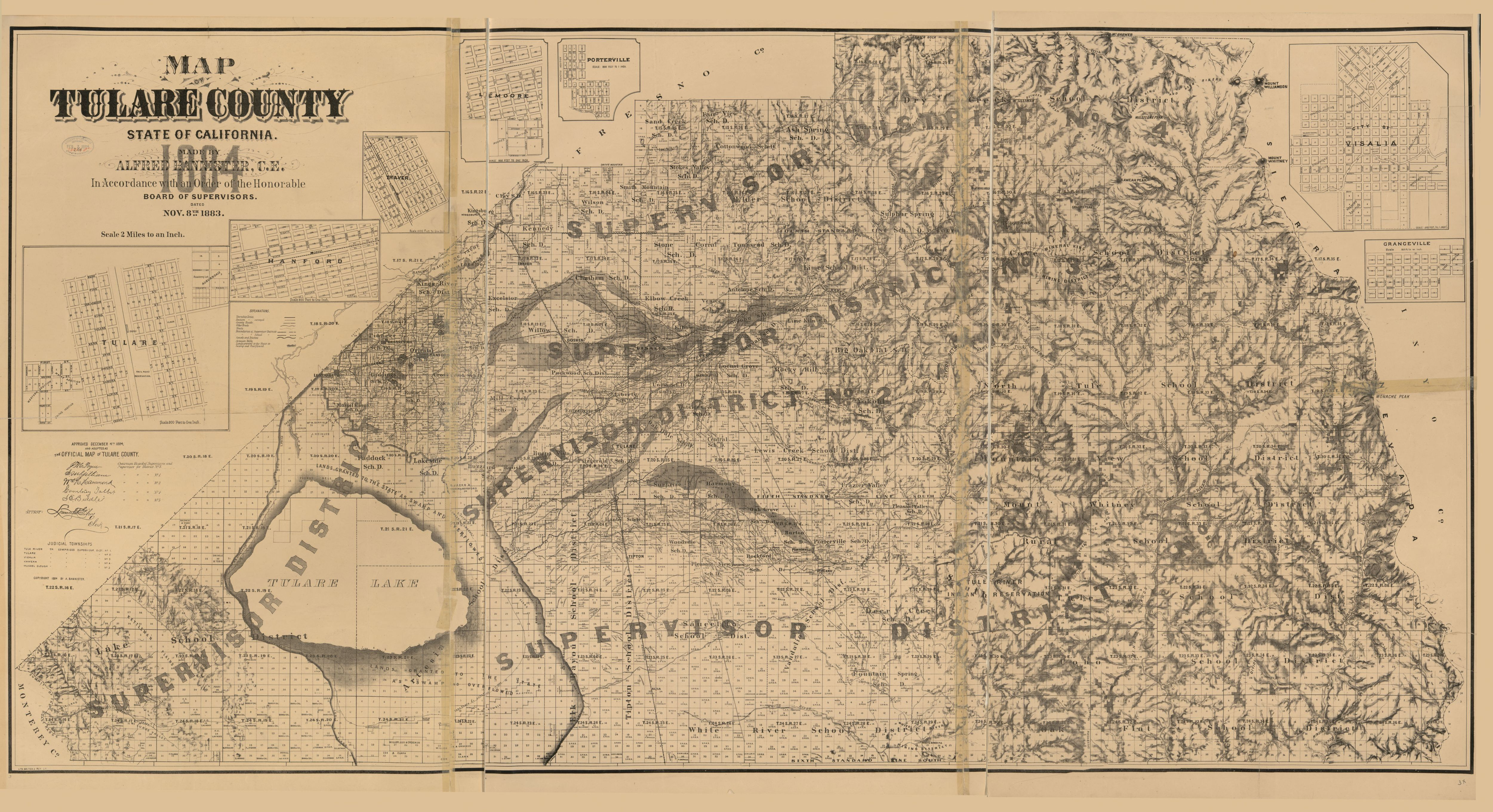 Cadastral Map Usa : Map of tulare county state california library