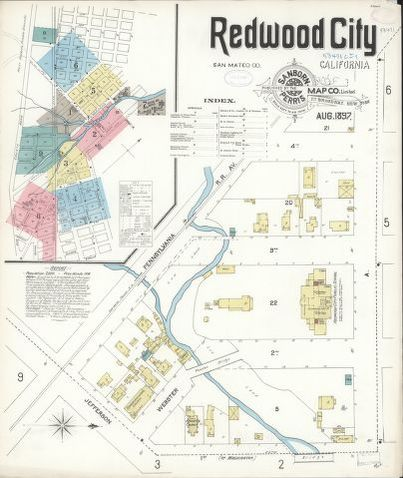 Sanborn Fire Insurance Map From Redwood City San Mateo County