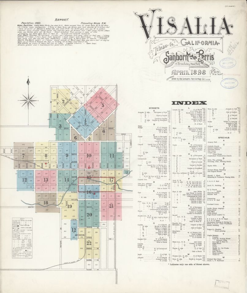 Map Of California Visalia.Sanborn Fire Insurance Map From Visalia Tulare County California