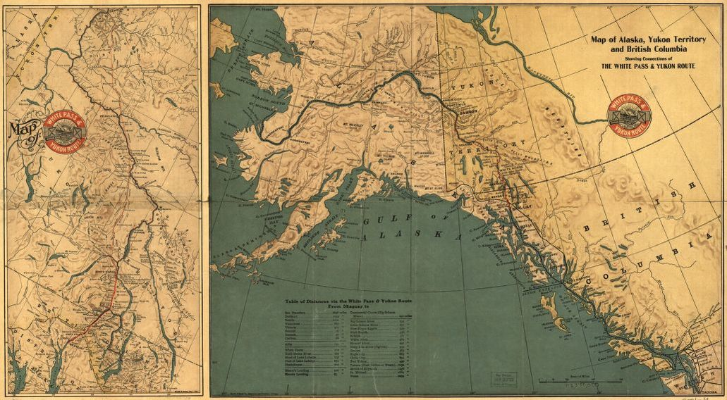 Map of alaska yukon territory and british columbia showing map map of alaska yukon territory and british columbia showing connections of the white pass and yukon route recto gumiabroncs Image collections