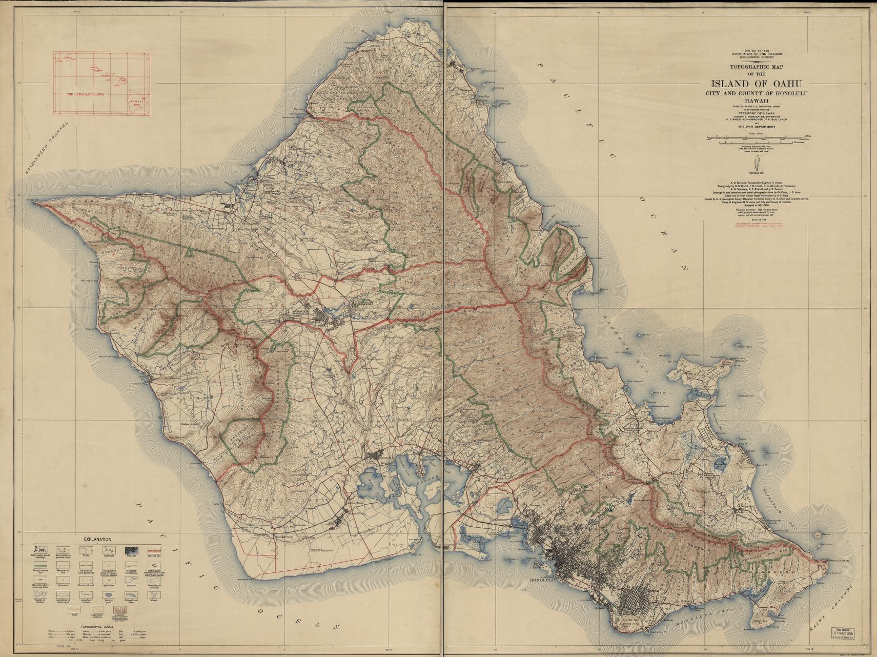 graphic relating to Oahu Map Printable named Topographic map of the Island of Oahu : town and county of