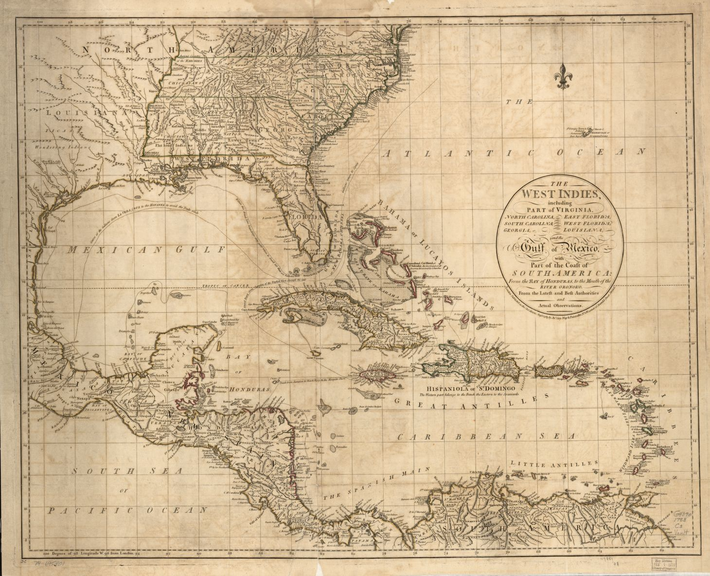 Map Of America Gulf Coast.The West Indies Including Part Of Virginia North Carolina East