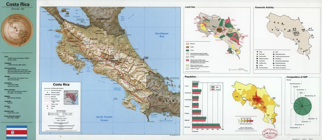 Costa Rica, summary map. | Liry of Congress on map of tanzania, map of alajuela, map of the carribean, map of dominican republic, map of the yucatan, map of belize, map of americas, map of united states, map of atlantic ocean, map of puerto rico, map of nicaragua, map of the virgin islands, map of guatemala, map of bahamas, map of caribbean, map of honduras, map of el salvador, map of jamaica, map of bolivia, map of ecuador,