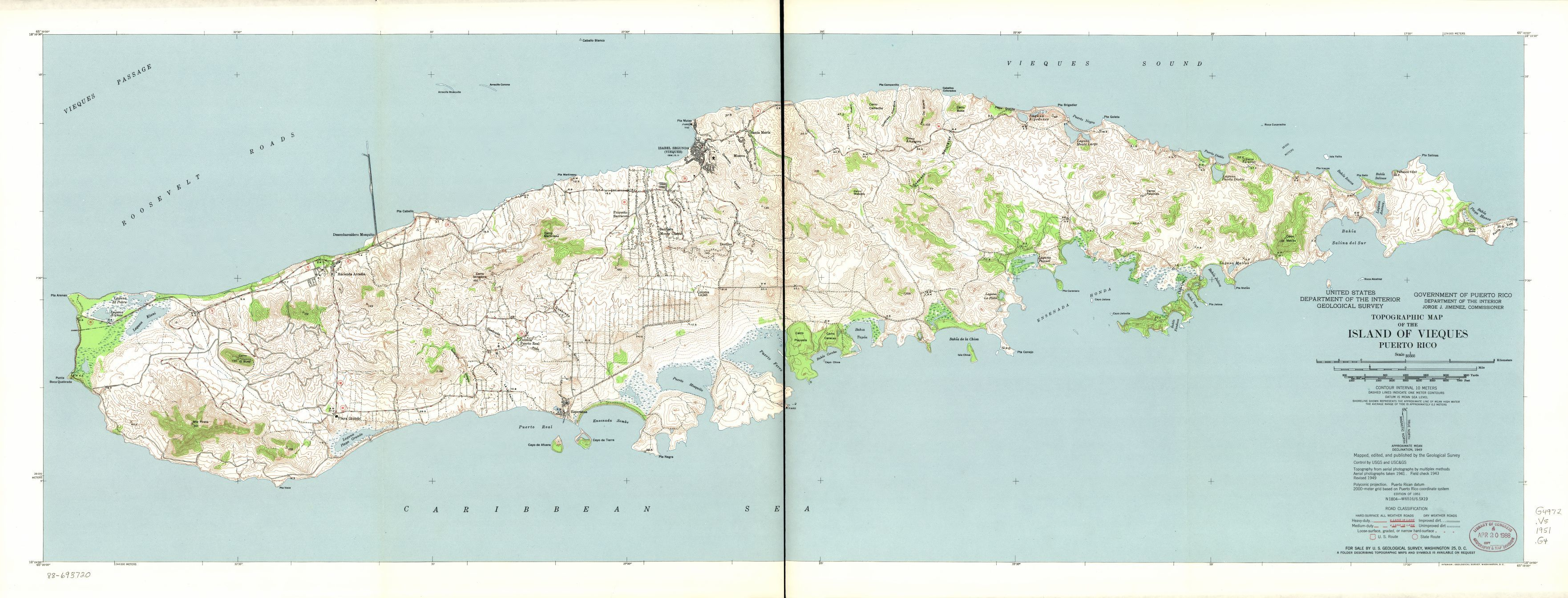 Topographic map of the Island of Vieques Puerto Rico Library of