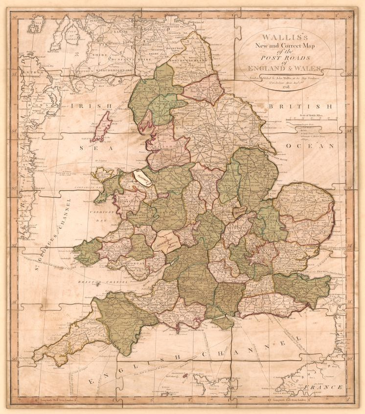 Road Map Of England And Wales With Towns.England And Wales With The Principal Roads And Distances Of The