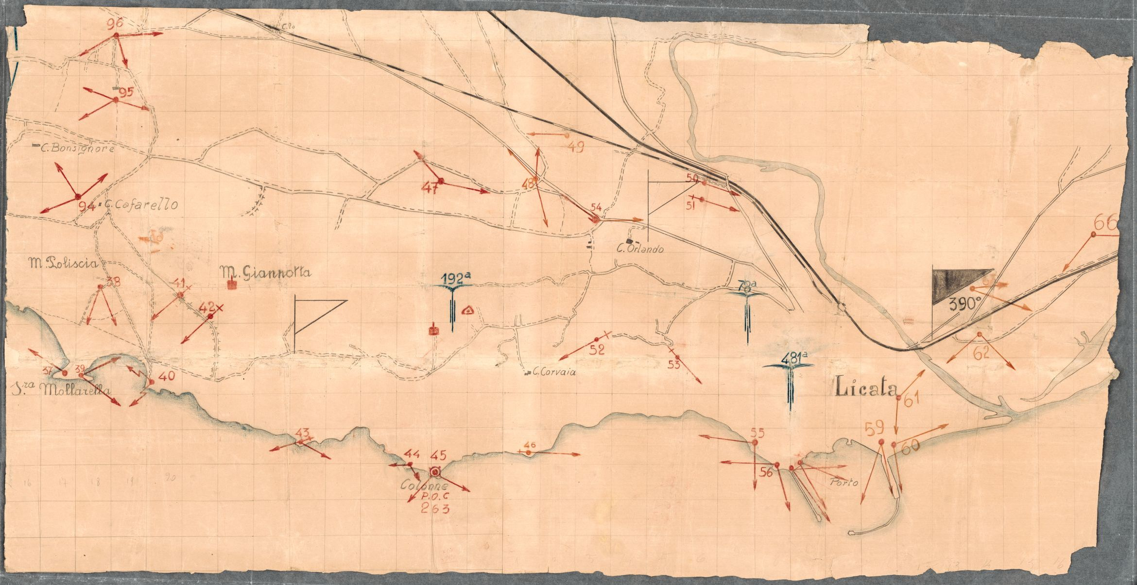 Manuscript planning map for the Allied landing near Licata, Sicily ...