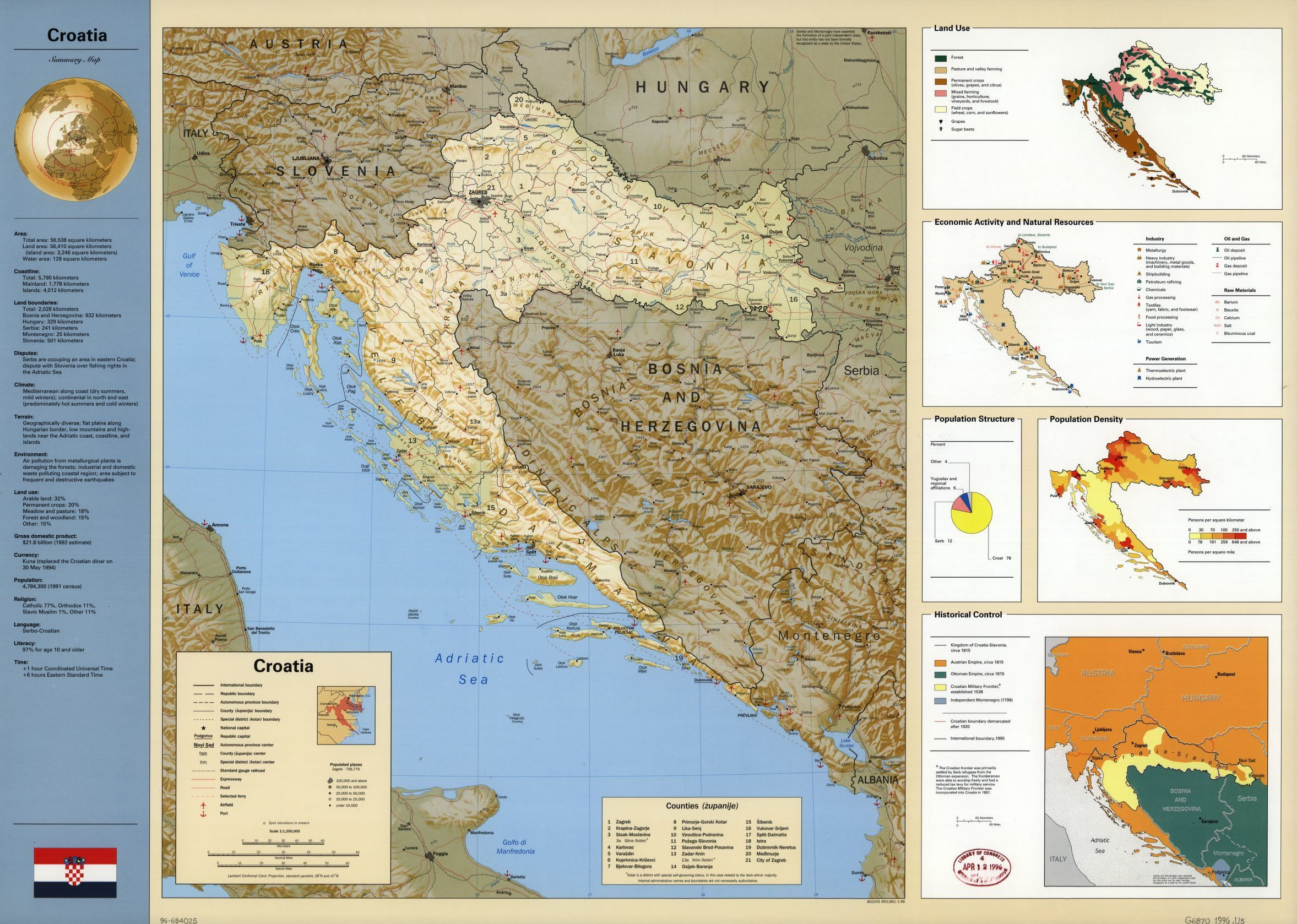 Croatia summary map library of congress gumiabroncs Image collections