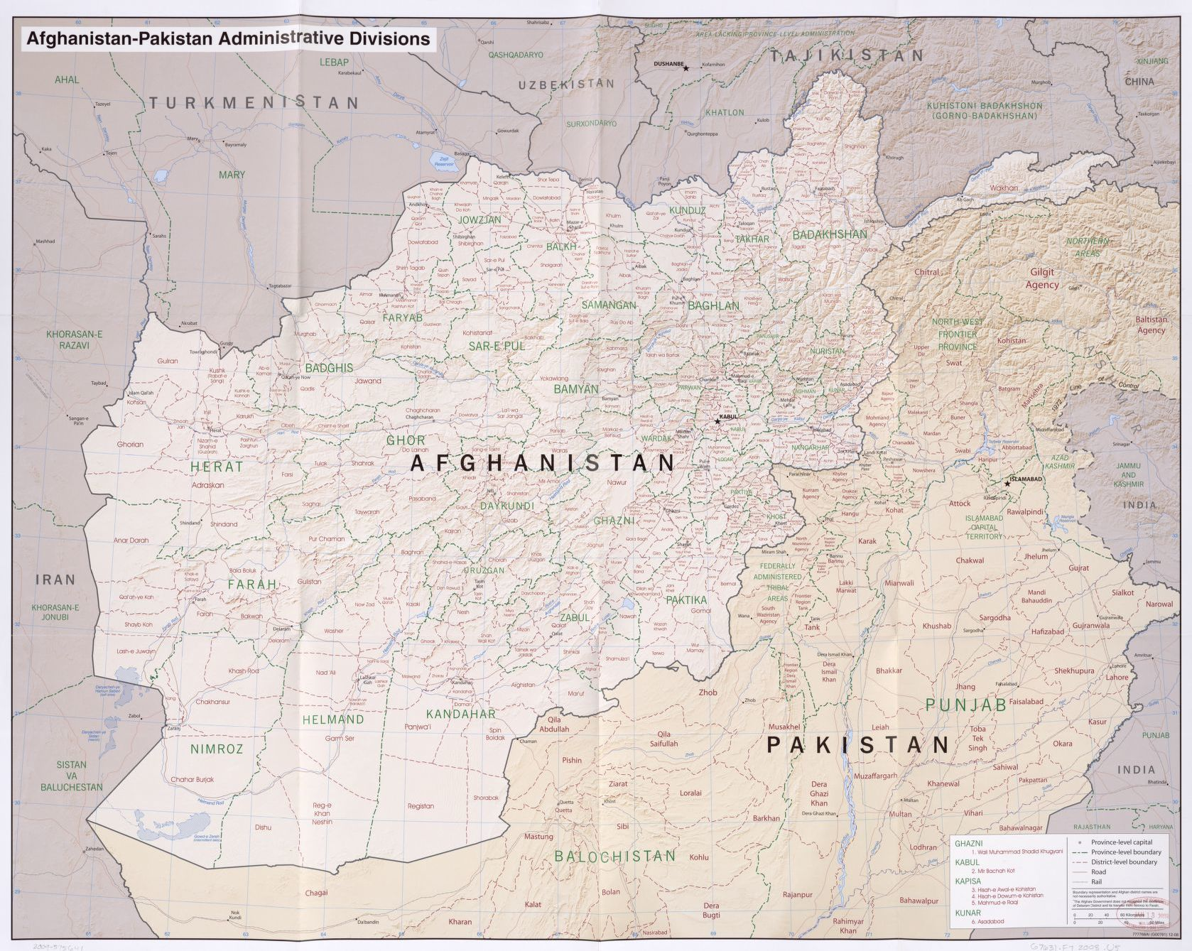 AfghanistanPakistan administrative divisions Library of Congress
