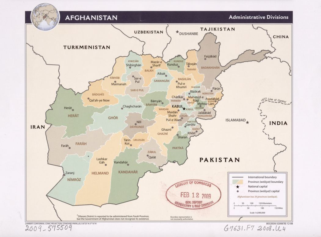 Afghanistan administrative divisions Library of Congress