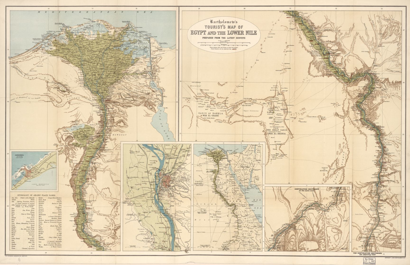 Bartholomews tourists map of Egypt and the Lower Nile prepared