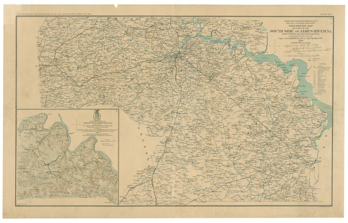 Preliminary Map Of A Part Of The South Side Of James River Va