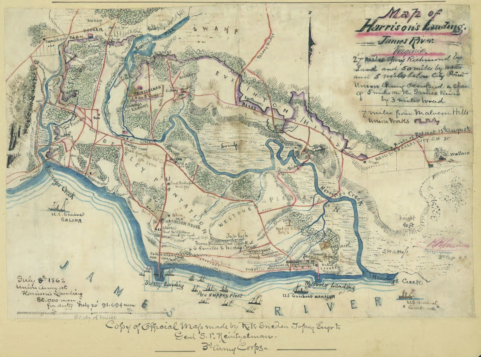 Map of Harrisons Landing James River Virginia Library of Congress