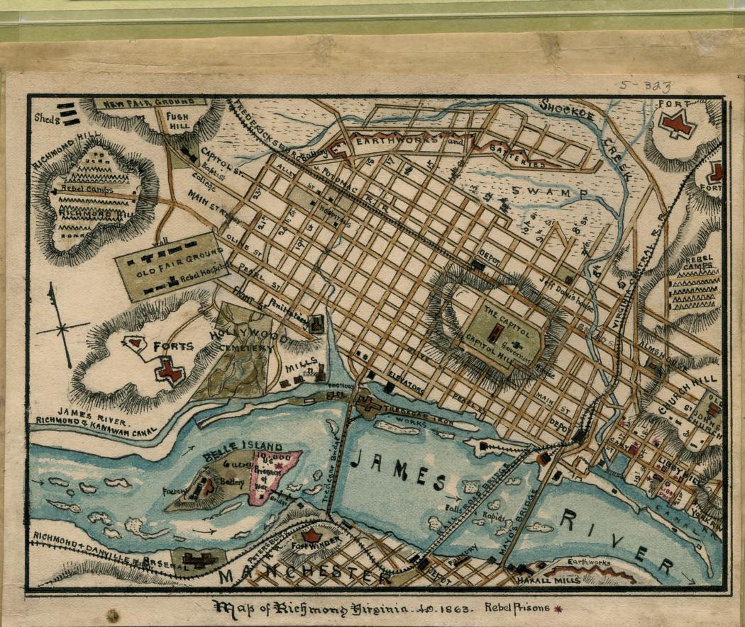 Map of Richmond, Virginia...1863. | Library of Congress