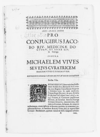 Brief filed by the spouse Jacobo Rió, a medical doctor, and Ana Rió y Garriga in the case filed against Miguel Vives as a legal representative of María Vives, his wife, for the recovery of possession rights on certain lands. [Ca.XVII Century].