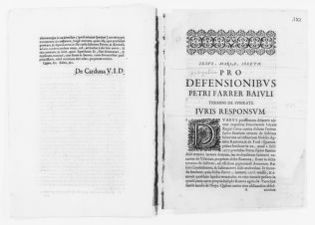 Brief filed [Ca.XVII century] before Marmer by Pedro Farrer Baiul of Subirats in the case against Inés Ramona y de Tord concerning his rights on real estate property.
