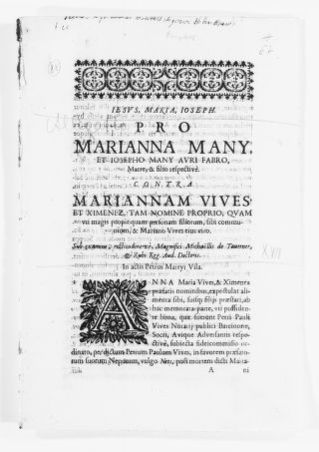 Brief filed by Mariana Many and José Many, mother and son, versus Maria Ana Vives y Jiménez on her own name and her close relatives and against Mariano Vives, her spouse, concerning rights to support. [Ca.XVII Century].