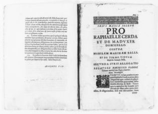 Second brief filed on behalf Rafael Cerdá y de Maduxer Domicello versus Marina de Balle y de Tormo in the case concerning gift of 12,000 pounds on the occasion of the wedding of Raimundo Cerdá Domicell and said Marina de Tormo. [Ca.XVII Century].