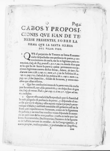 Notes and ideas that must be taken into consideration concerning the execution of judgment requested by the Holy Church of El Pilar. [Case is not indicated]. [Ca.XVII Century].