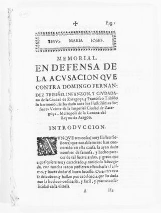 Brief on behalf Domingo Fernández Tribiño of the city of Zaragoza and his brother, Francisco Tribiño, concerning criminal charges filed against them for the murder of Matias Estevan Tayero.   [Ca. XVIII century].
