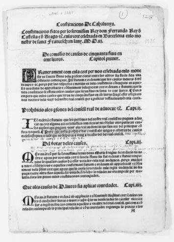 Constitutions of Catalonia issued by King Ferdinand of Castile and Aragon in the courts held in Barcelona in the Monastery of St. Francis in the year of 1503 [concluded in 1526].