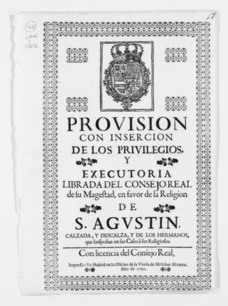Royal Order authorizing the religious order of San Agustín not to lodge soldiers in its monasteries.  [Ca. 1703].