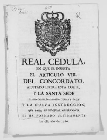 Regulation issued by the King concerning Article VIII of the Concordat signed with the Holy See in the year of 1737.