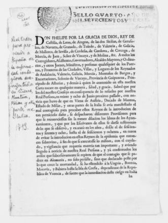 Royal Decree of August 26, 1713 establishing public health regulations to be enforced in customs houses to prevent the spreading of the epidemic disease now afflicting the continent.