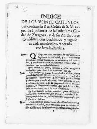 Resolution issued upon petition by the city of Zaragoza and its creditors, including a list of Chapters of the Royal Order of June 26, 1741 on payment of annuities by the city.  [Ca. 1741].