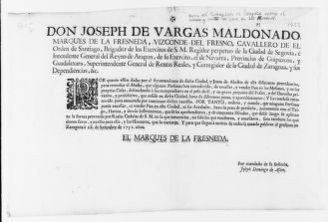 Order of September 28, 1752 issued José de Vargas Maldonado, Marquis of La Fresnada, Viscount of Fresno and Governor of the city of Zaragoza, prohibiting unauthorized persons to bake and trade bread in the city of Zaragoza and its suburbs.