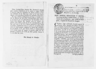 "Order of September 18, 1766 issued by José Sebastián Ortíz, Secretary of the King of Spain in the Kingdom of Aragón, concerning appointment of local magistrates [i.e. ""Alcaldes de Barrio""]."