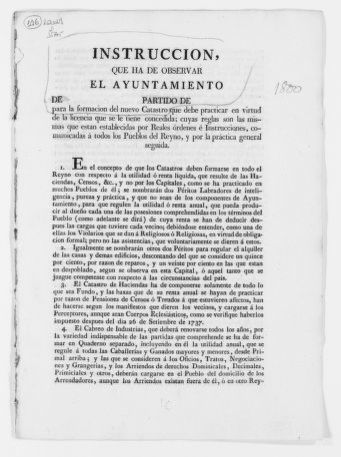 "Instructions to be followed by the Local Governments [i.e. ""Ayuntamientos""], concerning the recording of real property in their respective jurisdiction.  [Ca. 1800]."
