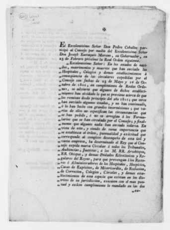 Royal Order of March 5, 1802 requesting from the Audiencias, Tribunals, Ecclesiastical Authorities, Hospitals, Prisons, Charitable Institutions and other public agencies to report to the Royal Council any changes in the population of the Kingdom.