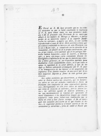 Order of September 27, 1804 issued by the Royal Fiscal ordering the sanitary councils of the Princedom of Catalonia to set up special houses for the lepers to prevent the spreading of this disease.