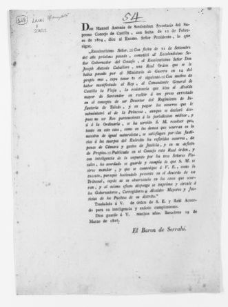 Order of February 12, 1804 issued by Manuel Antonio de Santistéban, a member of the Supreme Council of Castilla, concerning the assistance of the civil jurisdiction in military cases.