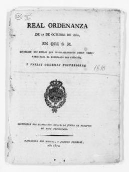 Royal Order of October 27, 1800 issued by King Carlos IV of Spain, concerning the drafting and recruiting of soldiers.