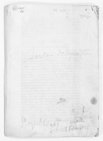 """Statement of February 19, 1814 issued by the """"Cortes""""  [i.e. Parliament] praising King Fernando VII and condemning former King José Napoleón for his atrocities.  Contains also a number of documents exchanged between Emperor Napoleón I of France and the Spanish Government."""