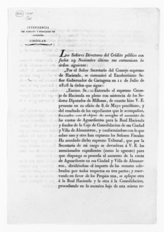 Order of December 15, 1816 issued by José de Ansa, Secretary of the Supreme Council of Finance, increasing the liquor tax in the city of Barcelona and village of Almazarron.
